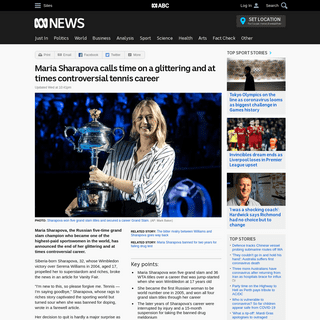 Maria Sharapova calls time on a glittering and at times controversial tennis career - ABC News (Australian Broadcasting Corporat