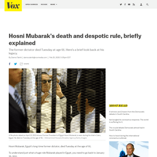 Hosni Mubarak's death and despotic rule, briefly explained - Vox