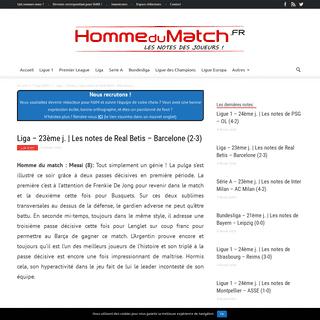 Liga - 23ème j. - Les notes de Real Betis - Barcelone (2-3)