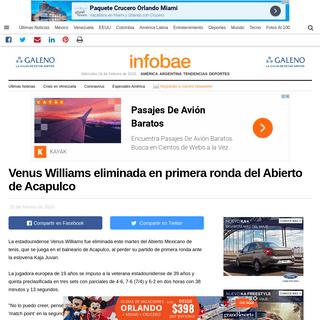 Venus Williams eliminada en primera ronda del Abierto de Acapulco - Infobae