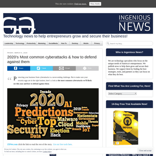 Technology news to help entrepreneurs grow and secure their business! -