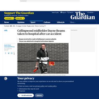 ArchiveBay.com - www.theguardian.com/sport/2020/feb/14/collingwood-midfielder-dayne-beams-taken-to-hospital-after-car-accident - Collingwood midfielder Dayne Beams taken to hospital after car accident - Sport - The Guardian