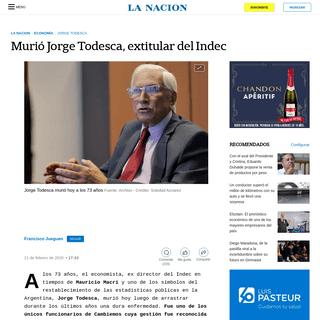 ArchiveBay.com - www.lanacion.com.ar/economia/murio-jorge-todesca-nid2336108 - Murió Jorge Todesca, extitular del Indec - LA NACION