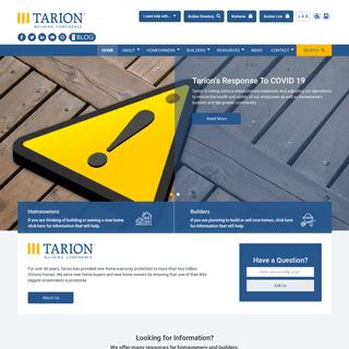 Tarion.com Landing Page - Tarion.com