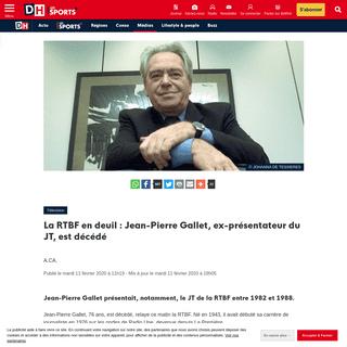 ArchiveBay.com - www.dhnet.be/medias/television/la-rtbf-en-deuil-jean-pierre-gallet-ex-presentateur-du-jt-est-decede-5e427d53d8ad5878d86264f0 - La RTBF en deuil - Jean-Pierre Gallet, ex-présentateur du JT, est décédé - DH Les Sports+