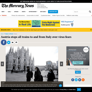 ArchiveBay.com - www.mercurynews.com/austria-stops-all-trains-to-and-from-italy-over-virus-fears - Austria stops all trains to and from Italy over virus fears