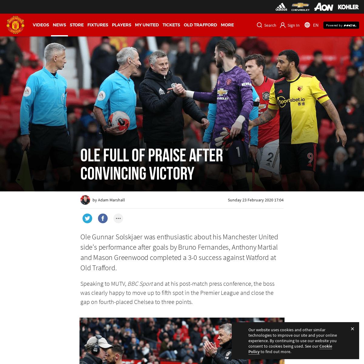 Ole Gunnar Solskjaer's reaction to Man Utd 3 Watford 0 - Manchester United