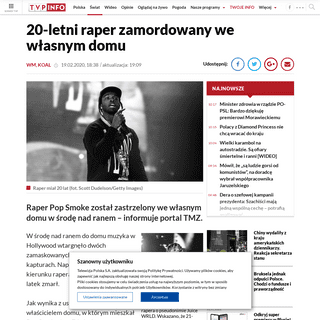 ArchiveBay.com - www.tvp.info/46729210/20letni-raper-zamordowany-we-wlasnym-domu - 20-letni raper Pop Smoke zamordowany we własnym domu w trakcie napadu wieszwiecej - tvp.info