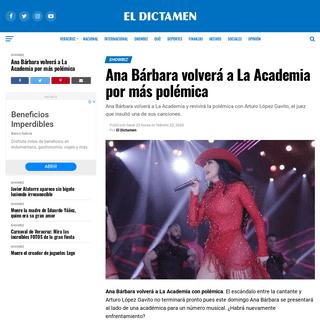 ArchiveBay.com - www.eldictamen.mx/espectaculos/ana-barbara-volvera-a-la-academia-por-mas-polemica/ - Ana Bárbara volverá a La Academia por más polémica - El Dictamen