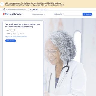 MyHealthfinder - health.gov