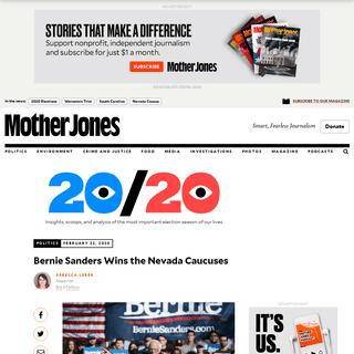 Bernie Sanders Wins the Nevada Caucuses – Mother Jones