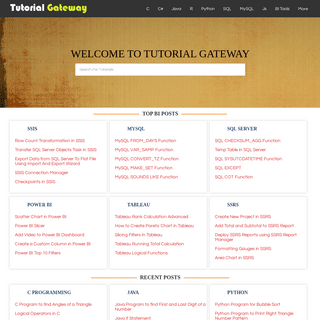 ArchiveBay.com - tutorialgateway.org - Tutorial Gateway - Tutorials on C, Python, SQL, MSBI, Tableau