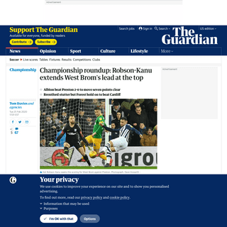 Championship roundup- Robson-Kanu extends West Brom's lead at the top - Football - The Guardian
