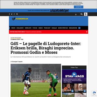 GdS - Le pagelle di Ludogorets-Inter- Eriksen brilla, Biraghi impreciso. Promossi Godin e Moses