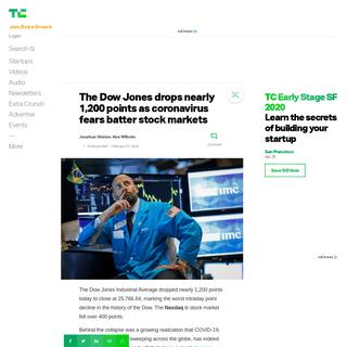 The Dow Jones drops nearly 1,200 points as coronavirus fears batter stock markets - TechCrunch