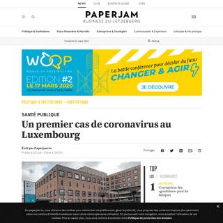 Un premier cas de coronavirus au Luxembourg - Paperjam News