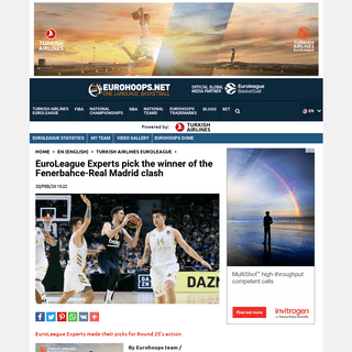 EuroLeague Experts pick the winner of the Fenerbahce-Real Madrid clash - Eurohoops