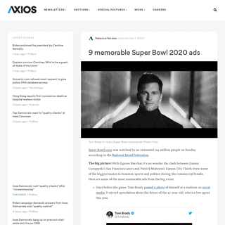 Super Bowl 2020- Memorable commercials -Axios