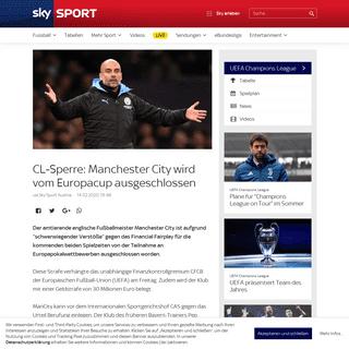 CL-Sperre- Manchester City wird vom Europacup ausgeschlossen - Sky Sport Austria
