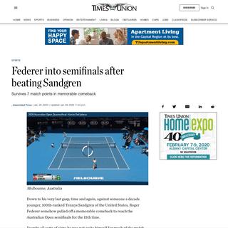 Federer into semifinals after beating Sandgren