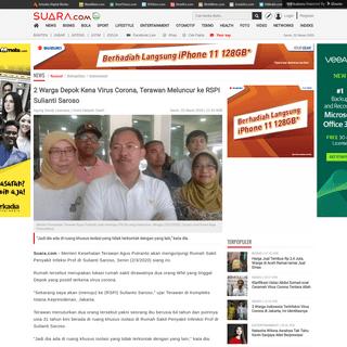 2 Warga Depok Kena Virus Corona, Terawan Meluncur ke RSPI Sulianti Saroso