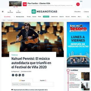 Nahuel Pennisi- El músico autodidacta que triunfó en el Festival de Viña 2020 - Meganoticias