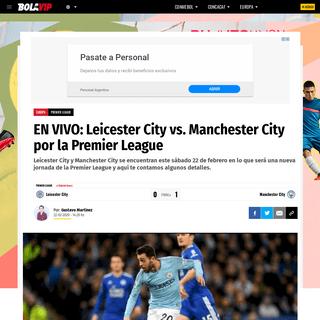 EN VIVO- Leicester City vs. Manchester City por la Premier League - Bolavip