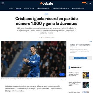 ArchiveBay.com - www.debate.com.mx/deportes/Cristiano-iguala-record-en-partido-numero-1.000-y-gana-la-Juventus-20200222-0137.html - Cristiano iguala récord en partido número 1.000 y gana la Juventus - EL DEBATE