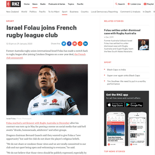 Israel Folau joins French rugby league club - RNZ News