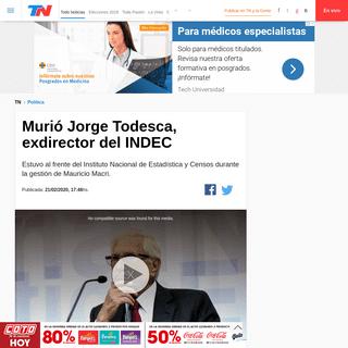 Murió Jorge Todesca, exdirector del INDEC - TN