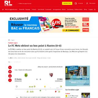 ArchiveBay.com - www.republicain-lorrain.fr/sport/2020/02/15/direct-suivez-le-match-du-fc-metz-a-nantes - Sport - Le FC Metz obtient un bon point à Nantes (0-0)