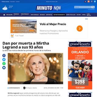 Dan por muerta a Mirtha Legrand a sus 93 años - Minuto Neuquen