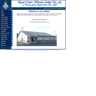 Royal Center Masonic Lodge #585 - 101 Kramer Street, P.O. Box 385, Royal Center Indiana 46978
