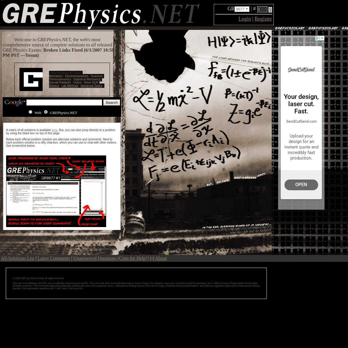 GREPhysics.NET - Full Solutions to ALL GRE Physics Exam Problems!