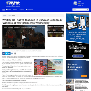 Whitley Co. native featured in Survivor Season 40 'Winners at War' premieres Wednesday