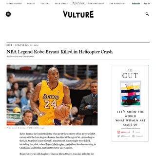 Kobe Bryant Dead At 41 in Helicopter Crash