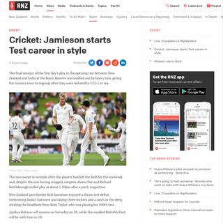 Cricket- Jamieson starts Test career in style - RNZ News