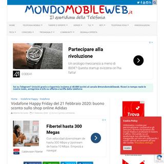 Vodafone Happy Friday del 21 Febbraio 2020- buono sconto sullo shop online Adidas - MondoMobileWeb.it - Telefonia - Offerte - Ri