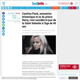 ArchiveBay.com - www.sudinfo.be/id167722/article/2020-02-15/caroline-flack-animatrice-britannique-et-ex-du-prince-harry-sest-suicidee-le - Caroline Flack, animatrice britannique et ex du prince Harry, s'est suicidée le jour de la Saint-Valentin à l'âge de 40 a