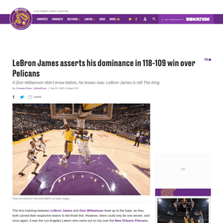 Lakers vs Pelicans Final Score- LeBron asserts dominance in 118-109 win - Silver Screen and Roll