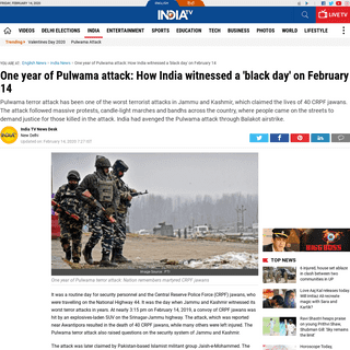 One year of Pulwama attack- How India witnessed a 'black day' on February 14 - India News – India TV