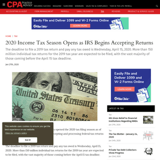 ArchiveBay.com - www.cpapracticeadvisor.com/tax-compliance/news/21123008/2020-income-tax-season-opens-as-irs-begins-accepting-returns - 2020 Income Tax Season Opens as IRS Begins Accepting Returns - CPA Practice Advisor