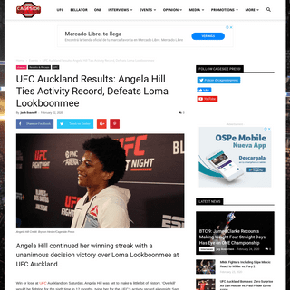 UFC Auckland Results- Angela Hill Ties Activity Record, Defeats Loma Lookboonmee