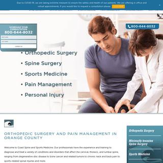 Orthopedic Surgery & Pain Management - Coast Spine and Sports Medicine