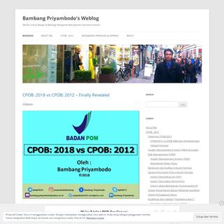 Bambang Priyambodo's Weblog - Media Untuk Belajar & Berbagi Mengenai Manajemen Farmasi Industri