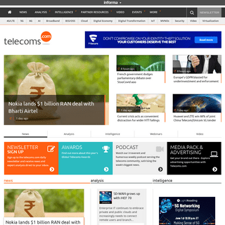 Telecoms.com – The leading provider of global news, comment and analysis for the telecommunications industry