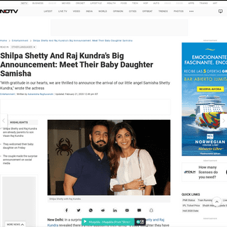 Shilpa Shetty And Raj Kundra's Big Announcement- Meet Their Baby Daughter Samisha