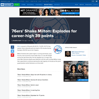 76ers' Shake Milton- Explodes for career-high 39 points - CBSSports.com