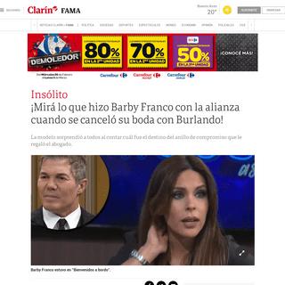 ¡Mirá lo que hizo Barby Franco con la alianza cuando se canceló su boda con Burlando! - Clarín