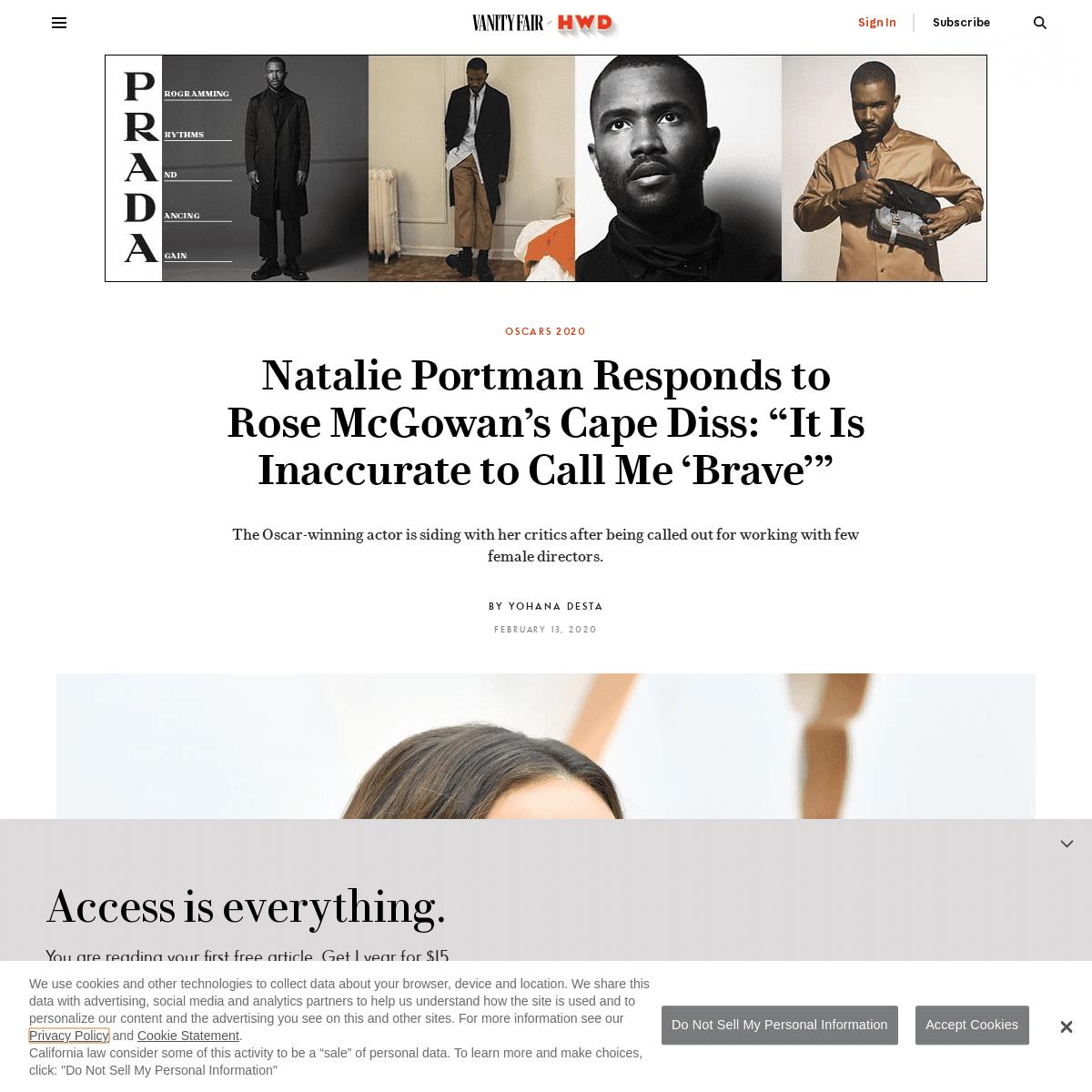 "ArchiveBay.com - www.vanityfair.com/hollywood/2020/02/natalie-portman-rose-mcgowan-oscars-cape - Natalie Portman Responds to Rose McGowan's Cape Diss- ""It Is Inaccurate to Call Me 'Brave'"" - Vanity Fair"